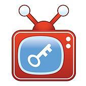 Key icon on retro television