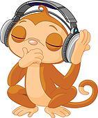 Cute little Monkey listening music