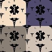 Seamless caduceus pattern