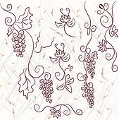 Grape design elements on the grunge background