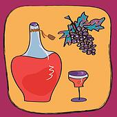 Background with wine bottle and goblet with vine