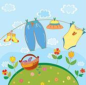 Baby laundry card for a boy cartoon