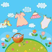 Baby laundry card for girl in summer
