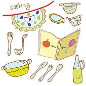 Cooking set with kitchen objects