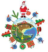 Christmas globe with santa claus and decorations