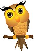 Cartoon owl sitting on tree branch