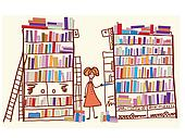Library cartoon with child and many books