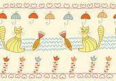 Seamless pattern with funny cats and fish