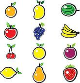 Collection of fresh, colorful and organic summer fruits illustra