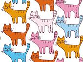 Seamless cartoon pattern with funny cats