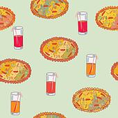 Pizza seamless background with juice