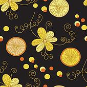 Vintage pattern with yellow flowers and lemon