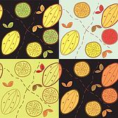 Seamless pattern set with lemon and leaves