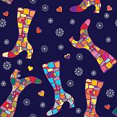 Winter boots seamless pattern with snow