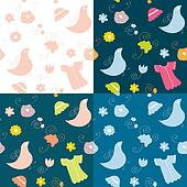 Cute seamless baby set of patterns