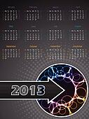 Abstract 2013 calendar with plasma effect