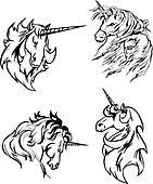 Four unicorn sketches