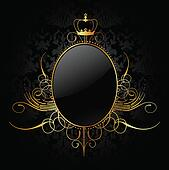 Royal background with golden frame. Vector