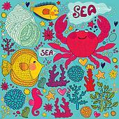 Fish, fun crab and marine life