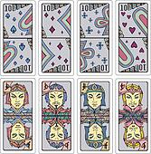 Tens and Jacks of playing cards