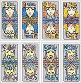 Queens and kings of playing cards