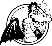 Cheerful Dragon in black and white