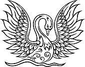 Elegant swan bird