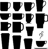 Coffee and tea cup silhouettes