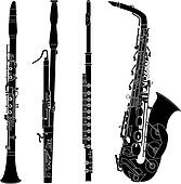 Woodwind instruments silhouettes