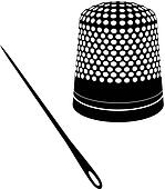 Thimble and needle silhouettes