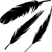 Grunge bird feathers silhouette