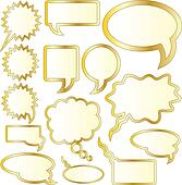 Gold foil thought and speech bubble