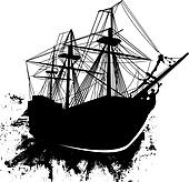 Grunge pirate ship vector