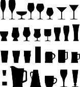 Alcohol glasses vector silhouettes