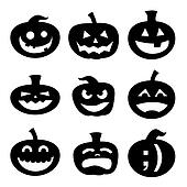 Halloween pumpkin silhouettes