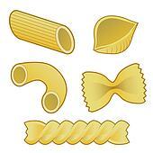 Pasta types food vector