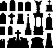 Headstone and gravestone silhouette