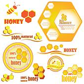 Set of honeycombs and bee  badges and labels. Vector illustratio