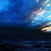 Night storm on the sea. Abstract natural backgrounds