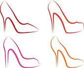 high heel shoes, vector set