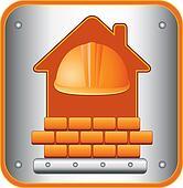icon with helmet, house and bricks