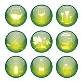 Set of winery sphere icons