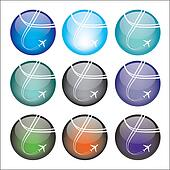 Set of airplane sphere icons