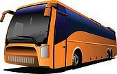 Orange tourist  bus on the road. C