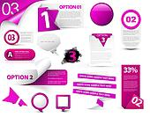 Set of purple vector progress icons