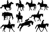 Horse riders ten silhouettes