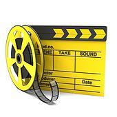 Movie clapper and film strip