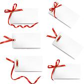 Set of card note with red gift bows