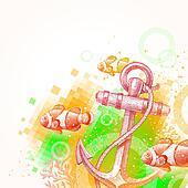 Hand drawn anchor and tropical fish