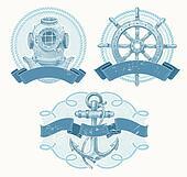 Nautical vector vintage emblems
